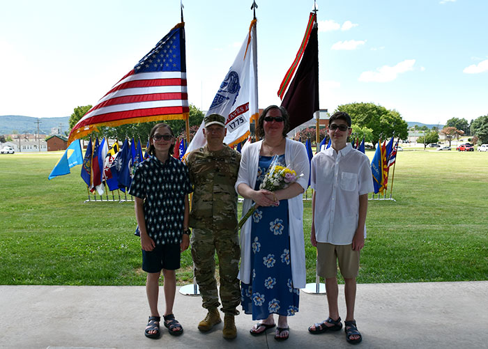 Command Sergeant Major Sprunger poses with his family