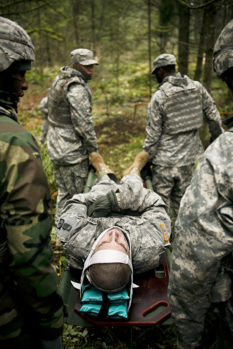 Soldiers practice how to evacuate injured off the battlefield