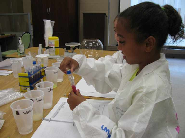 Nykia Hanner, intermediate GEMS student, tests the pH levels of common household liquids.
