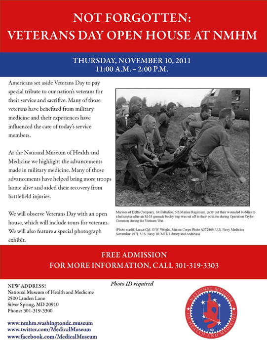 Not Forgotten: Veterans Day Open House at NMHM announcement