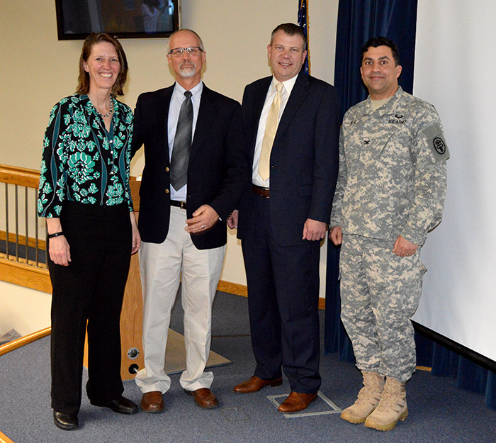 (Left to right) Kristy Pottol; Dr. Tim Bertram; Dr. Luke Burnett; and Col. Stephen Dalal.