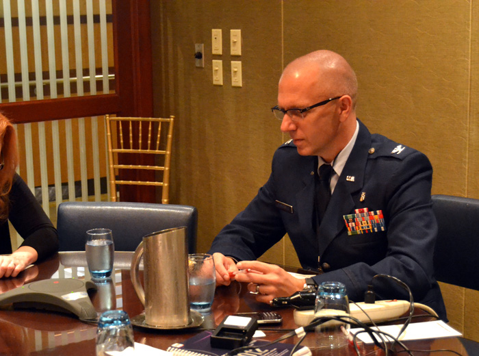 Col. Todd Rasmussen highlights trauma care during a roundtable session