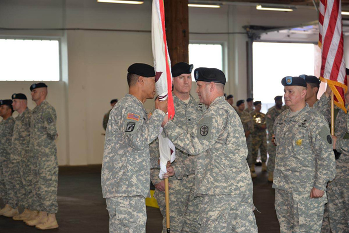 Maj. Gen. Joseph Cravalho Jr. hosted the U.S. Army Medical Materiel Center - Europe's change of command ceremony July 11 in which the audience bid farewell to Col. Thomas C. Slade and welcomed Col. Erik G. Rude.
