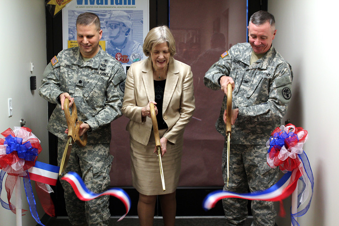 Leadership cut the ribbon Jan. 29 unveiling a new vivarium at the U.S. Army Center for Environmental Health Research