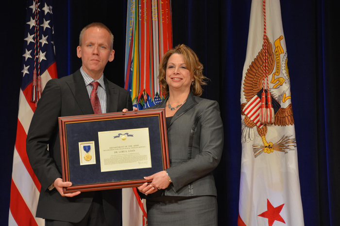 Dr. Lori A. Loan receives the Decoration for Exceptional Civilian Service award